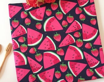 WATERMELON FABRIC, Strawberry cotton fabric, red fruit ,black 100% Cotton Fabric Fat Quarter, half yard, yard. for quilting, sewing,crafting
