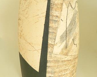 Bernard Irwin, Studio Pottery Vase with Abstract Design, Fine Art Ceramic