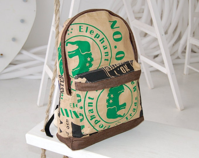Eco backpack, brown backpack, travel backpack, unisex backpack, vegan backpack, yoga bag, elephant, kraft paper backpack, satchel backpack