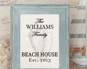 Beach House Sign, Personalized, Conch Shell, Choose Burlap, Canvas or Cotton