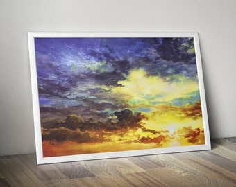orange blue sunset sky ART PRINT - watercolor sunset art, colorful giclee print, watercolor clouds, minimalistic print, atmospheric artwork