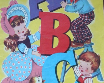 Vintage Merrill - Fine Books for Children - ABC Picture Book - Vividly Colored Pictures on Textured Paper
