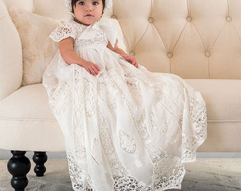 Christening Gown & Bonnet, Grace Baptism Gown, Lace Christening Gowns