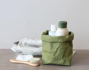 Paper storage bag, green bag, khaki, made from washable paper, eco, green living, home decor, Pantone greenery, Earth tone - SALE