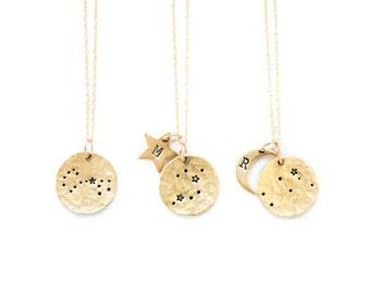 Zodiac Jewelry, Constellation Necklace, Zodiac Necklace,Celestial Jewelry,Personalized Necklace,Moon Necklace,Gift for her,Zodiac gift