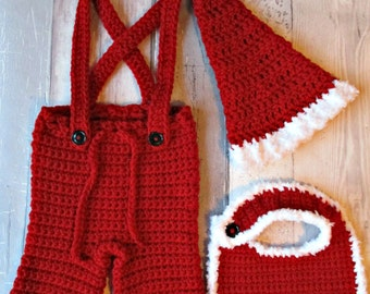 Father Christmas Baby - Santa Claus - Christmas Baby - Christmas Set - Christmas Outfit - Santa Hat - Christmas Bib - My First Christmas