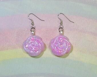 Fairy kei Earrings, Pastel Goth Earrings, Glitter Rose Earrings, Holographic Earrings, Pop Kei Earrings, Sweet Lolita Earrings