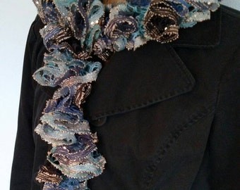 Boho Ruffle Scarf - Blue, Black and Tan with Sequins, Lace Scarf, Frilly