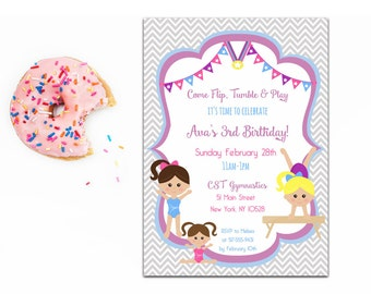Gymnastic Birthday Invite, Gymnastics Invitation, Printable Gymnastic Invitation, Gymnastics Party, 4x6 or 5x7- Printable, Digital File