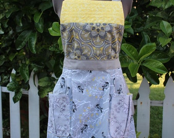 Full Anthropologie  Vintage style apron,  Retro Apron, Yellow and Gray Apron, Birds,  Women's Full Apron, Mother's Day, Gladstone Cottage
