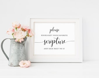 Bible Guest Book Sign, Sign our Bible Sign, Highlight your Favorite Verse, Sign our Bible, Wedding Guest Book Sign, Bible Verse Guest Book