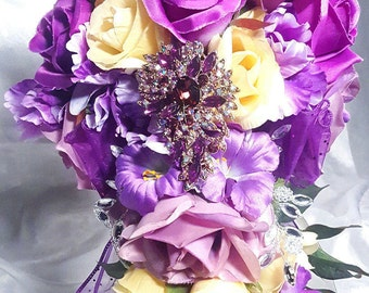 Reduced Price! Purple and Yellow Brooch Wedding Bridal Bouquet 4 Piece Set