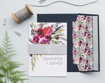 Floral Watercolour Wedding Invitations - Floral Wedding Invites - Bright Modern Wedding Invitations - Wedding Invitation Suite - SAMPLE
