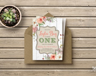 Garden Party Floral Birthday Invitations