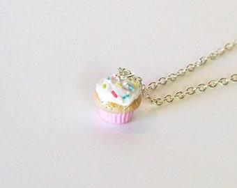 Cupcake Charm, cupcake necklace, miniature food jewelry, birthday necklace, pink cupcake necklace, food jewelry, food charm, cupcake jewelry