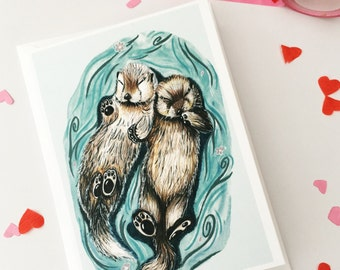 Otter Greeting Card, Sleepy Otters Holding Hands Anniversary Card, Otter Birthday Card Drawing, Illustrated Watercolour Otter, Otter Gifts
