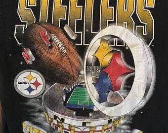 Vintage 90s Pittsburgh Steelers Football Tshirt - PIttsburgh Steelers - Steelers Tshirt - Vintage Tshirt - Large
