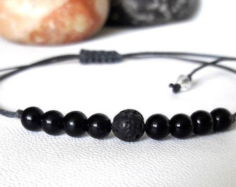Diffuser Bracelet Black Agate Bracelet mens bracelet Yoga Bracelet Protection bracelet Healing Bracelet simple bracelet Love, Good luck