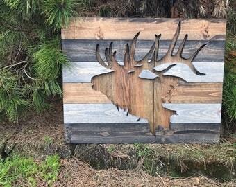 Rustic Elk Silhouette Wood Wall Art
