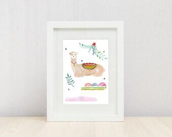Alpaca 2 Print, Kid's Bedroom Print, Nursery Art, Kids Print, Wall Decor