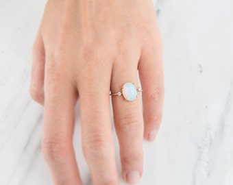 14K Opal Diamond ring, Opal Ring, Unique Engagement Ring, Solid Gold Ring, October Birthstone, Birthday Gift, Stacking rings