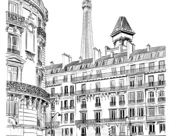 Sous le ciel de Paris...  Parisian street sketch - High quality Giclee print of original pencil illustration