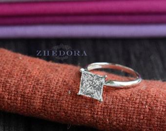Princess Cut Engagement Ring 2.10 ct 14k /18k White Gold Bridal Solitaire,Square Cut Engagement Ring,Princess Cut Engagement Ring by Zhedora