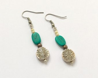 Turquoise and Silver Dangle Drop Earrings Southwest/Bohemian/Rustic Style Gift for Her