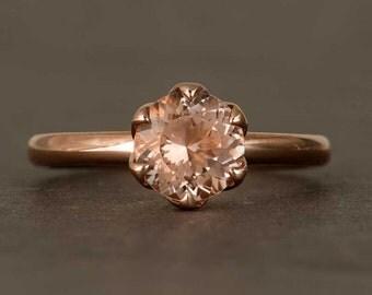 Peach Pink Morganite Ring, Tulip Solitaire Ring in 14k Rose Gold