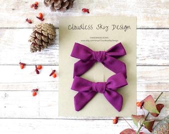 purple pigtail bows, pigtail bows, pigtail set, purple bows, hair bows, toddler hair bows, girls hair bows, stocking stuffer, gift for girls