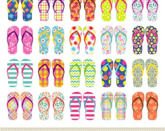 Flip Flops Clip Art, Summer Shoes Clipart, Beach Clipart, Instant Digital Download Vector Clip Art