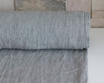 LINEN FABRIC STRIPED 200GSM Middle weight linen color not dyed and dark gray narrow striped 100% Pure Linen fabric washed and softened