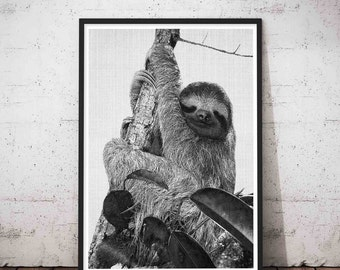 Sloth Print, Sloth Nursery, Woodland Zoo, Sloth Wall Art, Wood Wall Art, Sloth Art Print, Woodland, Sloth Printable, Sloth Decal,Sloths