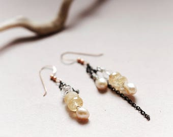 Asymmetric natural Pearls and Gemstones mismatched earrings, Wire wrapped Crystal quartz, Citrine, Hematite & pearl, alternative wedding
