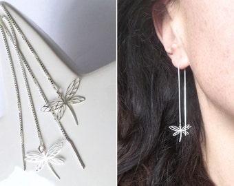 Chains of Dragonfly long short earrings Silver 925 Wire Earrings silver fine romantic elegance magical woman Threader earrings
