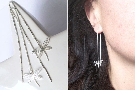 Chains of ears short or long 925 solid silver silver Dragonfly fine romantic elegance softness woman Threader earrings