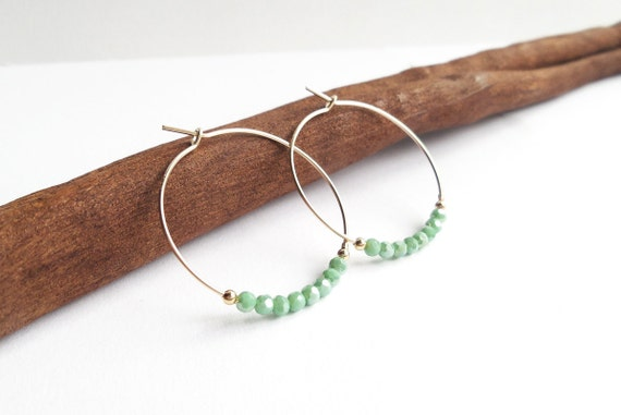 Creoles with small light green crystals beads faceted much brightness quality 14 minimalist Carat fine GOLD plated rings