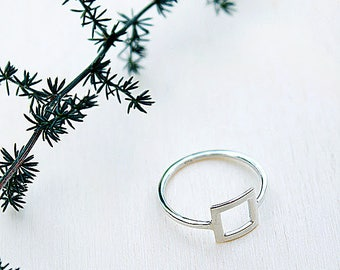 Square Sterling silver ring, silver jewelry, minimalist ring, boho jewelry, geometric ring, gift for women, womens gift, birthday gift