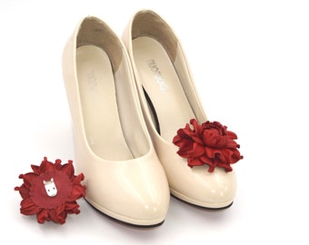 Genuine LEATHER SHOE CLIPS flowers, bright red floral shoe decoration, wedding bridal shoe jewelry | Handmade shoe jewellery, Ukranie