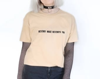 Destroy What Destroys You T-shirt Beige 90s Pale Pastel Tumblr Inspired Grunge Aesthetic Aesthetics