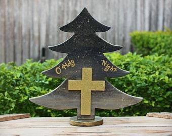 Wood Tree, O Holy Night, Wood Cross, Gold Cross, Christmas Tree, Table tree, Religious Christmas, Reclaimed wood, Large Tree, Sky painting