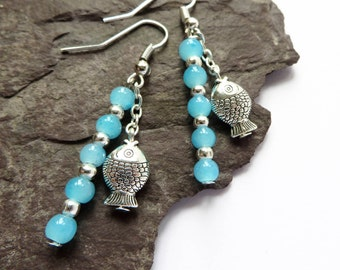 Fish jewelry, Fish earrings, Quirky earrings, boho jewelry, summer earrings, beachy jewelry, beach vibes, shit happens, turquoise jewellery