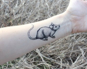 Mouse Temporary Tattoo, Rat Tattoo, Black Ink, Rodent, Small Forest Animal Tattoo, Nature Tattoo