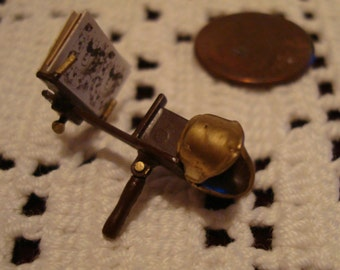 Vintage Miniature Dollhouse Stereoscope with Three Different Viewer Cards!  Scale 1:12  Shabby Chic!