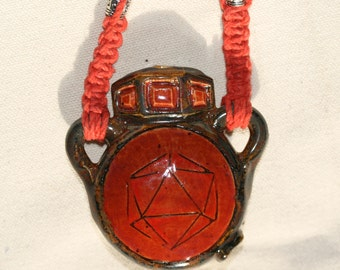 Red Odesza Pipe Pendant - Functional Bowl - Hemp Necklace