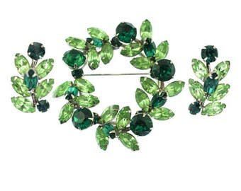Vintage Sherman Green Rhinestone Brooch and Earring Set, Signed Sherman Brooch, Signed Sherman Earrings, Sherman Rhinestone Brooch