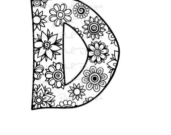 Letter D Alphabet Flowers SVG / JPEG / PNG /pdf / use with Silhouette Studio and Cricut Design Space - Commercial Use - Adult Coloring Page