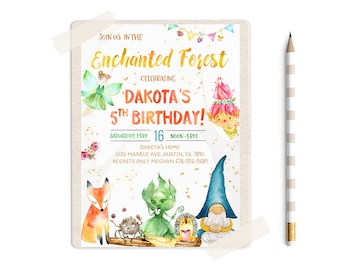 Enchanted Forest Invitations, Magic Forest Invitation, Woodland Birthday Invitations, Woodland Birthday Invites, Woodland Invitation, party