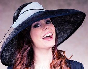 Women's Hat, Races Hat, Mother of the Bride, Wedding Hat, Ascot Hat, Black Sinamay Hat with Silk Trim - Audrey
