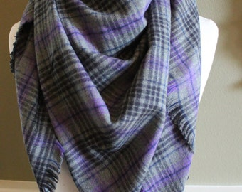 Plaid Gray, Purple and Black Flannel Blanket Scarf